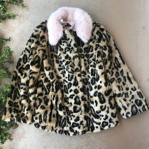 TOPSHOP Leopard Animal Print Faux Fur Coat